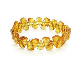 Honey Amber Bracelet - Amber Bracelet - Amber Stretch Bracelet - Amber Beaded Bracelet - Baltic Amber Bracelet - Amber Jewelry -(DO-192)