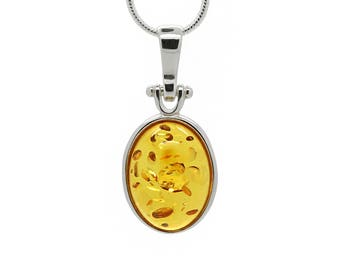 Amber Oval Pendant - Oval Pendant - Modern Pendant Necklace - Amber Necklace - Amber Pendant - Honey Amber Pendant - Amber Jewelry -489Ph