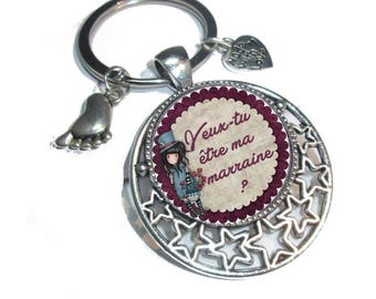 "Keychain ""Will you be my godmother?"""
