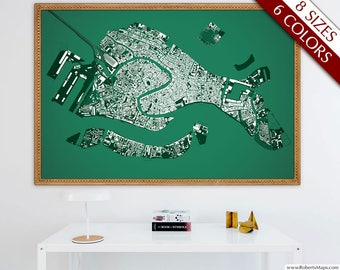"Venice map, Map of Venice, Italy, 6 colors, 8 sizes up to 108x72"" 275x180cm, Venezia art map in 1 piece or 6 parts - Limited Edition of 100"