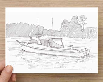 Wooden Chesapeake Crabbing Boat - Deadrise, Maryland, Eastern Shore, Bay, Ink Drawing, Sketch, Black and White, Art, Pen and Ink, 5x7, 8x10