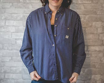 Medium blue and white checkered button up