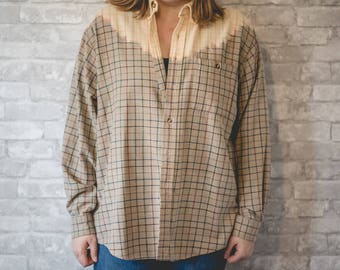 XL brown, red and blue flannel