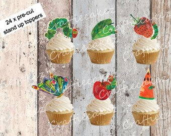 24 x Edible Pre Cut Hungry Caterpillar Stand Up Cupcake Toppers