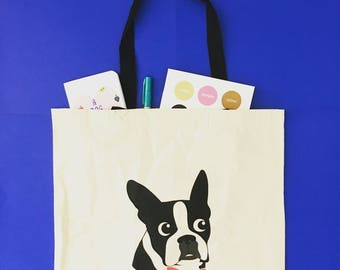 Tote Bag, Tote Bags, Tote, Totes, Book Bag, Book Bags, Boston Terrier, Boston Terriers,