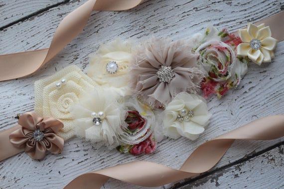 Sash, Neutral Sash, vintage style sash,  flower Belt, maternity sash, neutral sash, beige tan ivory sash