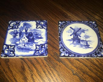 2 Vintage DELFT Mosaic Tiles Cottage And Windmill