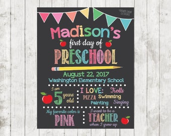 First Day of Preschool Sign, First Day of School Chalkboard, Back to School Chalkboard, 1st day of school sign, 1st day of Kindergarten sign