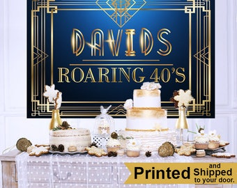 Roaring 20's Personalized Backdrop - Birthday Cake Table Backdrop Birthday-Gatsby Backdrop - Custom Backdrop, 40th Birthday Backdrop