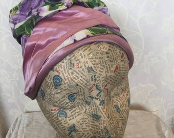 Late 50s lilac rose fabric turban style hat
