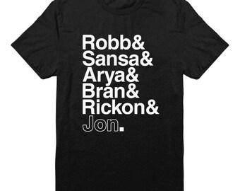 Game Of Thrones Shirt Robb & Sansa and Arya and Bran and Rickon and Jon Shirt Dragons Tshirt Funny Tees Graphic Shirt Men Shirt Women Gifts