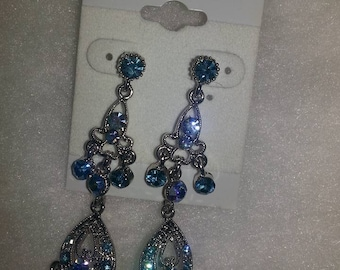 B#002...Handmade silver and blue dangling earrings