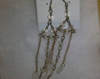 B#005...Opaque and silver dangling earrings