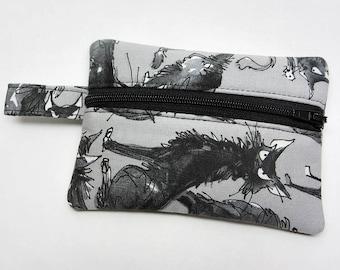 Coin purse, zipper pouch, zipper purse, change wallet, cat coin purse, creepy zipper pouch, creepy cats coin pouch, grey black coin purse