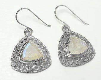 Fine 925 Sterling Silver Faceted Moonstone Earrings
