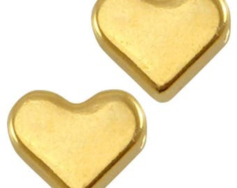 DQ Heart Beads-Zamak-3 pieces-6 mm-Horizontal Reihloch-color selectable (color: Gold)
