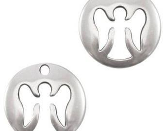 DQ metal pendant, charm Angel, guardian angel-1 piece-Zamak, silver plated