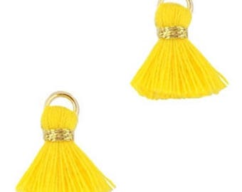 Beaded tassels, tassels, tassel pendant-1.5 cm-3 pcs.-Color selectable (color: yellow 2)