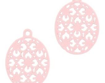 Bohemian Pendant-4 pcs.-15 mm-oval shape-color selectable (color: light pink)