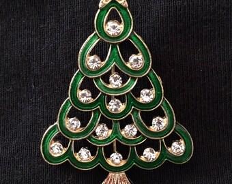 Enameled Rhinestone Christmas Tree Brooch / Pin