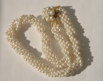 "Vintage Japan Made gold Tone Faux Pearl Bead Muti Strand 16"" Necklace"