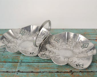 Vintage Double Sided Wrought Aluminum Dish With Center Handle