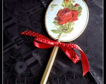 Handmade altered red rose and gold hand mirror