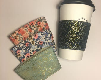 Reusable Coffee Sleeve in Rifle Paper Co. Fabric