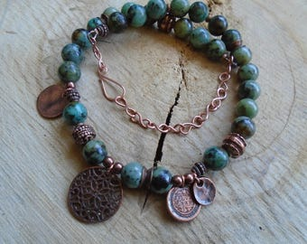 Turquoise necklace copper and African / / Bohemian / ethnic / nature jewelry