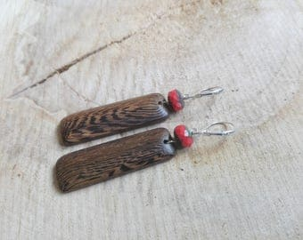 Exotic wood earrings and Czech glass / / Coral Picasso and Robles