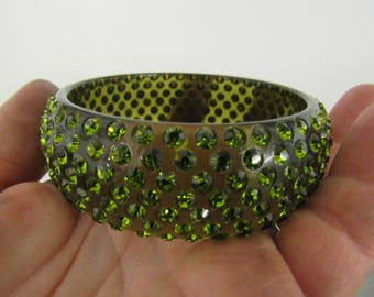 Green Rhinestone and Lucite Bangle Bracelet