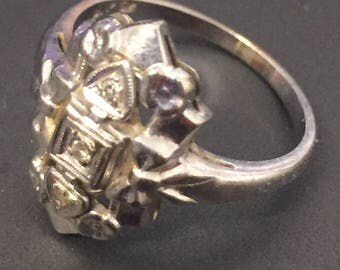 Vintage 14k Gold and Diamond Signet Ring Size 6.75