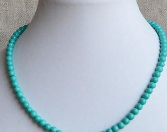 turquoise pearl necklace, glass pearl necklace, 6mm turquoise necklaces, wedding necklace, bridesmaids necklace, statement necklace