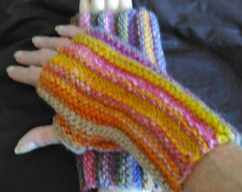 Multicolor fingerless gloves with thumb, Ardèche wool