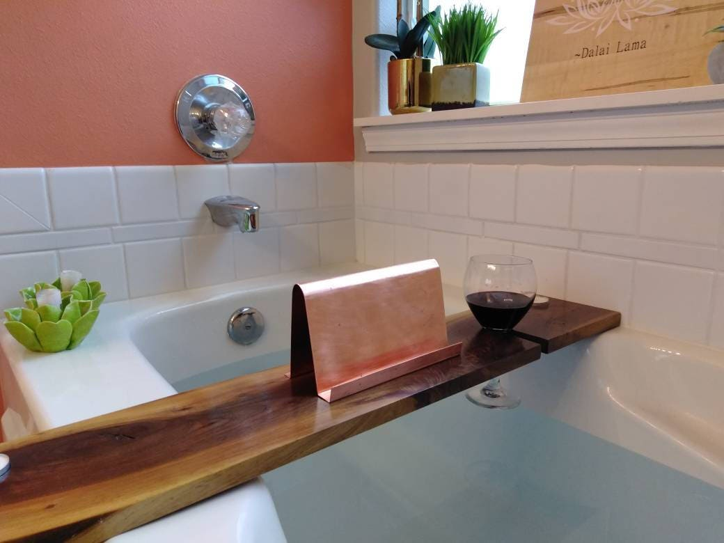 35 inch Modern Walnut Hardwood Bathtub Tray and Caddy with copper or ...