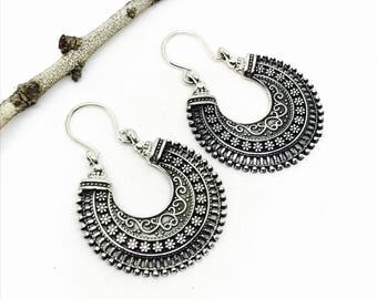 Tribal, ethnic, bohemian Sterling silver 925 hoop earrings. Detailed silver work. Better then picture.