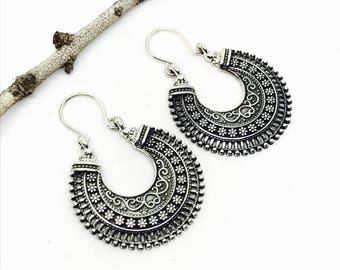 Tribal, ethnic, bohemian Sterling silver 925 hoop earrings. Detailed silver work. Better then picture.
