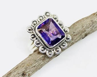 Amethyst Ring set in sterling silver 925. Size- 7. Genuine authentic amethyst stone. feburary birthstone.
