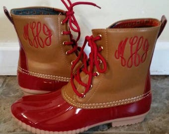 Monogrammed Maroon Duck Boots, Maroon Duck Booties, Personalized Duck Boots, Size 9