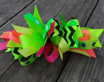 Neon funky loop bow; fluorescent chevron loopy puff bow