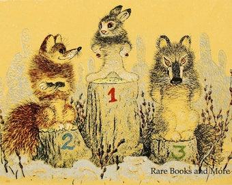 Hare Fox Wolf Winners - Illustrator A. Golubev - Vintage Soviet Postcard, 1966. Rabbit Bunny Final Podium Winter Olympics Animals Art Print