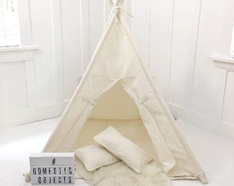 Handmade Teepee Play tent for Kids in Natural Unbleached Cotton Canvas. With PILLOWS, but NO MAT