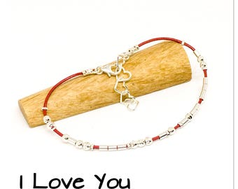 I Love You, Morse code bracelet, leather and sterling silver, hidden message bracelet, Valentine's gift