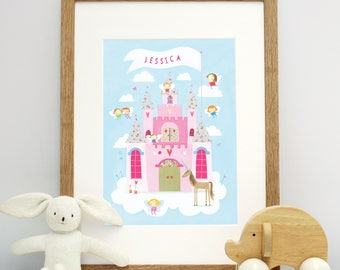 Personalised Fairy Castle Mounted Print