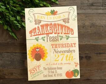 Thanksgiving Party Invite, Thanksgiving Vintage Style Invitation Printable, Dinner Invite, Digital File, Thanksgiving Feast Invite
