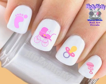 Baby pink nail etsy image nail decals baby girl rattle pacifier feet pink nail art set503 prinsesfo Gallery