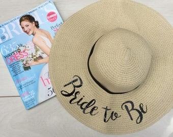 Bride beach floppy hat, bride to be floppy straw beach hat, honeymoon beach hat, babymoon holiday floppy hat.