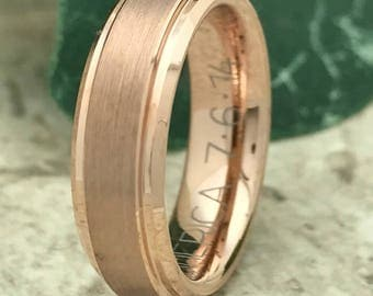 6mm Tungsten Ring, Personalized Custom Engrave Rose Gold Plated Tungsten Wedding Ring, Anniversary Ring, Promise Ring TCR170