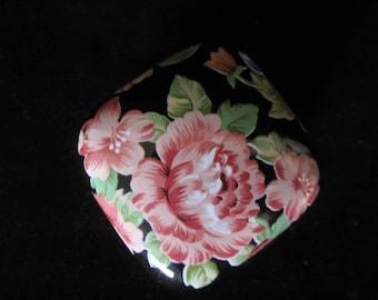 Floral Garden Tavistock Otagiri Trinket Box-handcrafted in Japan.  Black, decorated with gorgeous hand-painted pink, blue, & orange flowers!