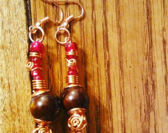 Handmade copper, wood and glass earrings by Jukeboxx Jewelry & Crochet